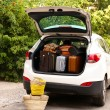 Suitcases and bags in trunk of car ready to depart for holidays — Stock Photo #55208191
