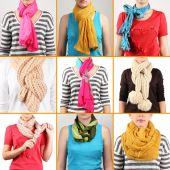 Different ways to tie scarves. Woman wearing scarves — Stock Photo