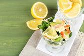 Tasty salad with shrimps — Stock Photo