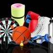 Sporting goods on black background — Stok fotoğraf #55307969