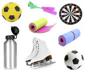 Collage of sporting goods isolated on white — Stock Photo