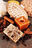 Soap with coffee beans — Stock Photo