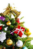 Decorated Christmas tree isolated on white — Stock Photo