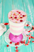 Cranberry milk dessert in glass — Stock Photo