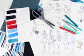 Sketches of clothes and fabric samples — 图库照片