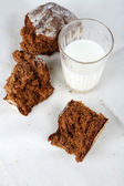 Rye bread and glass of milk on fabric background — Stock fotografie