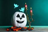 Halloween pumpkin and candles — Stock Photo
