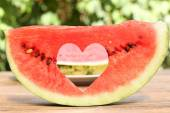 Fresh slice of watermelon on table outdoors, close up — Foto de Stock
