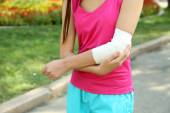 Sports injuries of girl — Stock Photo