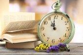 Retro alarm on table — Stock Photo