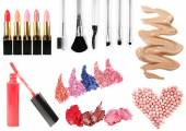 Cosmetics collage isolated on white — Stock Photo
