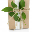 Natural style handcrafted gift box with fresh leaves and rustic twine, isolated on white background — Stock Photo #55638293