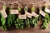 Diferentes hierbas frescas sobre fondo de madera — Foto de Stock