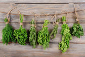 Different fresh herbs on wooden background — Stock Photo