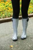 Woman in Boots on rainy autumn day. — Stock Photo