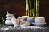 Spa set on bamboo mat on dark background — Stock Photo