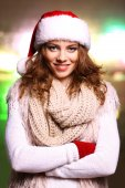 Portrait of woman in scarf and gloves on bright background — Foto Stock