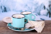 Cups of tasty hot cocoa — Stock Photo
