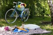 Bicycle with picnic snack — Stock Photo