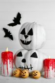 White Halloween pumpkins — Stock Photo