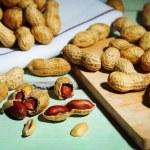 Peanuts on cutting board — Stock Photo #55733843
