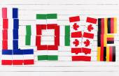 Love word formed with national flags — Stock Photo