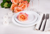 Table setting with rose — Stock Photo