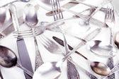 Disordered tableware closeup — Stock Photo