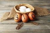 Eggs with inscription BIO — Stock Photo