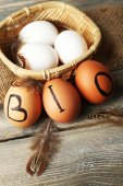 Eggs with inscription BIO — Stock Photo