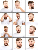 Emotion concept. Handsome man with beard collage — Foto de Stock