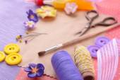 Scrapbooking craft materials on bright background — Stok fotoğraf