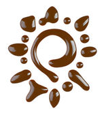 Chocolate syrup drips isolated on white — Stock Photo