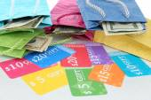 Set of coupons for shopping to save money, close-up — Stock Photo
