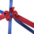 Dark blue and dark red ribbon and bow isolated on white — Stock Photo #56049579
