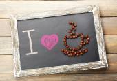 I love coffee written on chalkboard, close-up — Stock Photo