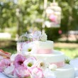 Wedding cake with flowers — Stock Photo #56050345