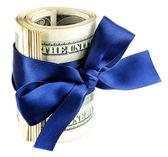 Balík dolarů svázané stuhou — Stock fotografie