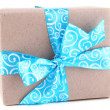 Holiday gift box with blue ribbon — Stock Photo #56112101