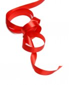 Red ribbon with bow — Stock Photo