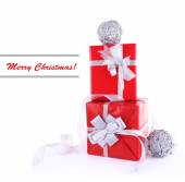 Red holiday gift boxes — Stock Photo