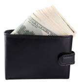 Purse with hundred dollar banknotes — 图库照片