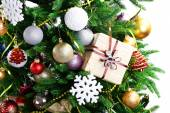 Gift box on Christmas tree closeup — Foto de Stock