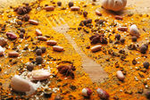 Spices on table with fork — Stock Photo
