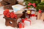 Christmas composition near fireplace — Stockfoto