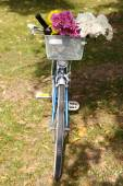Bicycle with flowers and bottle — Stock Photo