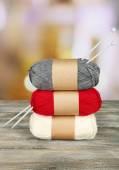 Knitting yarn with knitting needles — Stock Photo