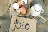 Eggs and fresh milk — Stock Photo