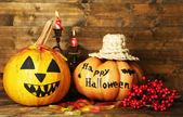 Dynie Halloween i świece — Zdjęcie stockowe