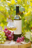 Tasty wine on wooden barrel on grape plantation background — Foto Stock